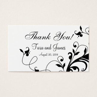 Black and White Floral Swirls Wedding Favor Tags
