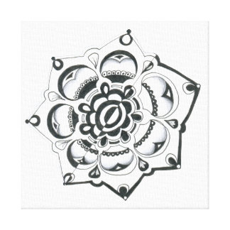 Black and White Floral Symmetry Gallery Wrap Canvas