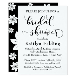 Black and White Floral Typography Bridal Shower Card