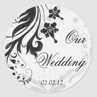 Black and White Floral Wedding Envelope Seal Round Stickers