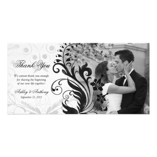 Black and White Floral Wedding Thank You Photocard Custom Photo Card