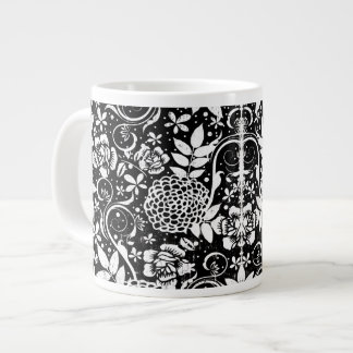 Black and White Floral William Morris Jumbo Mug