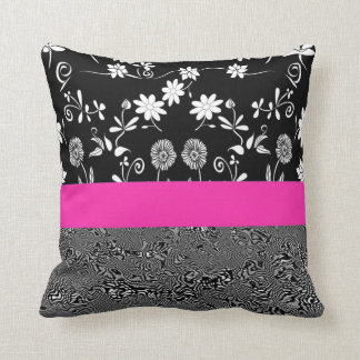 black and white floral with pink band throw pillow