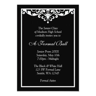 Black and White Flourish Formal Prom Dance Ball 13 Cm X 18 Cm Invitation Card