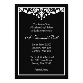 Black and White Flourish Formal Prom Dance Ball Card