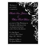 Black and White Flourish Wedding Invitation