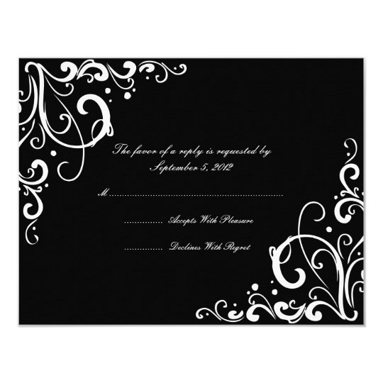 Black and White Flourish Wedding RSVP Card