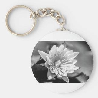 Black and White Flower Basic Round Button Key Ring