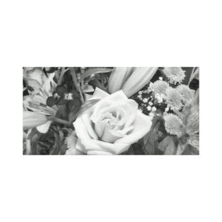 Black and White Flower Bouquet Stretched Canvas Print