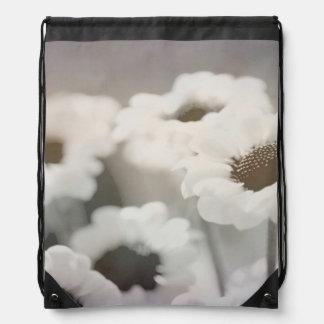 BLACK AND WHITE FLOWER DRAWSTRING BACKPACK