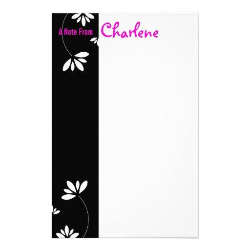 Black and White Flower Notepad Customized Stationery