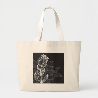 Black and White Flower Outline Jumbo Tote Bag