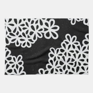 Black and White Flower Petals Tea Towel
