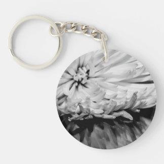 Black and White Flower Photo Acrylic Keychain