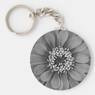 Black and White Flower Photo Basic Round Button Key Ring