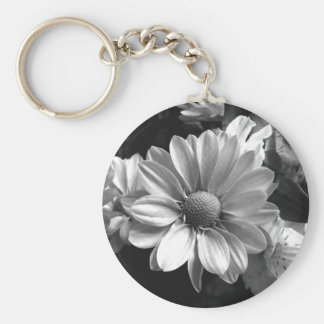 Black and White Flower Photo Basic Round Button Key Ring