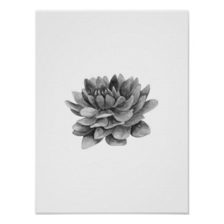 Black and white flower print. Floral home wall art