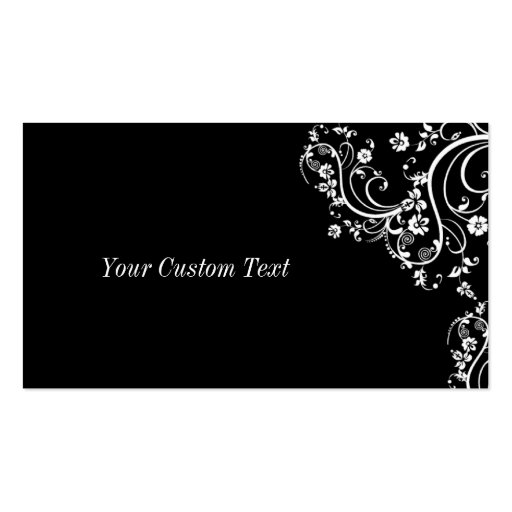 Black and White Flower Scroll Business Card Template