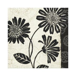 Black and White Flowers 2 Stretched Canvas Print