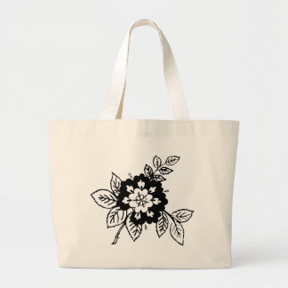 Black and White Flowers Canvas Bag
