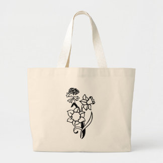 Black and White Flowers Canvas Bags