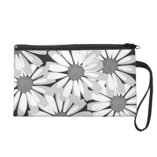 black and white flowers wristlet purse