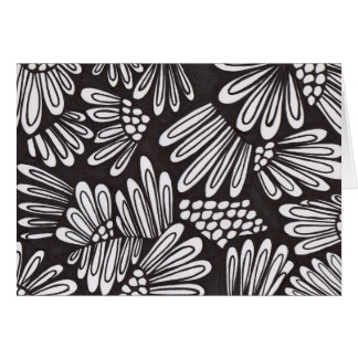Black and white flowers blank card
