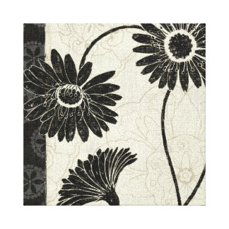 Black and White Flowers Stretched Canvas Prints