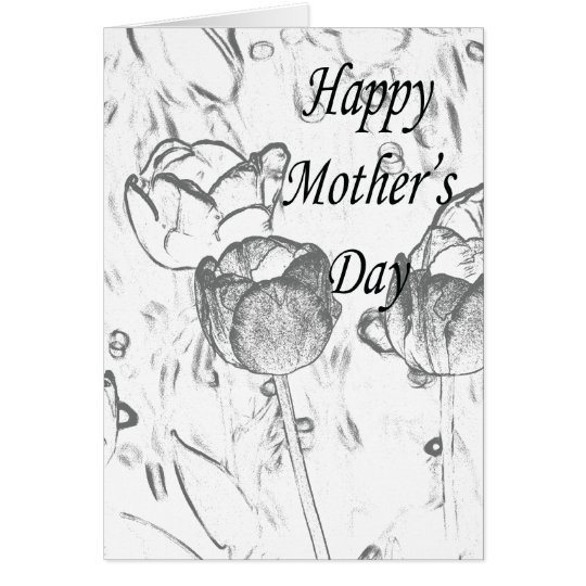 Black and white flowers card