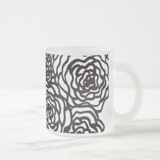 Black And White Flowers Frosted Glass Coffee Mug
