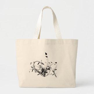 Black And White Flowers Jumbo Tote Bag