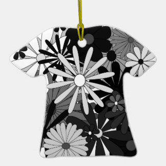 Black and White Flowers Ornament