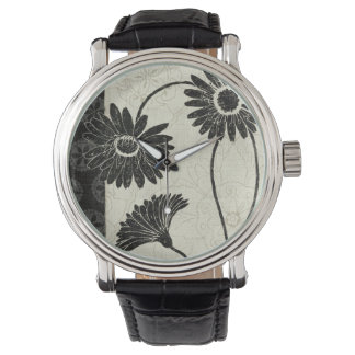 Black and White Flowers Watch