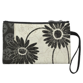 Black and White Flowers Wristlet Clutches