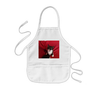 Black and white Foofy the kitten Kids Apron
