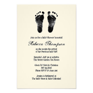 Black and White Foot Prints Baby Shower Custom Invitations