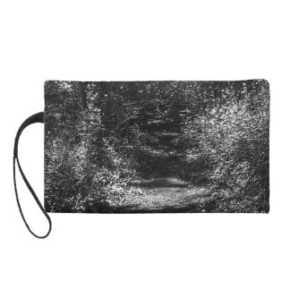 Black and white forest print women's mini-clutch wristlet