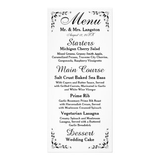 Black and White Formal Reception Menu