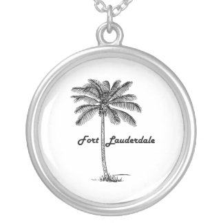 Black and White Fort Lauderdale & Palm design Silver Plated Necklace