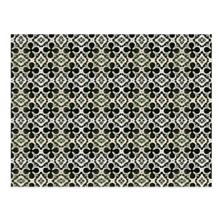 Black And White Four Leaf Lucky Clover Pattern Postcard