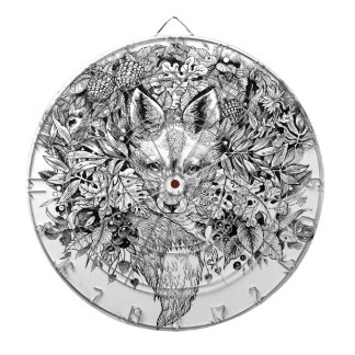 Black and white fox in the forest dartboard