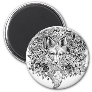 Black and white fox in the forest magnet