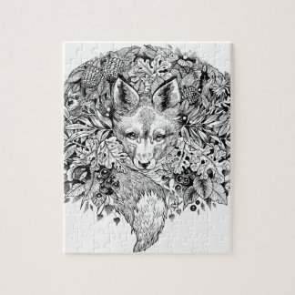 Black and white fox in the forest puzzle