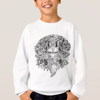 Black and white fox in the forest sweatshirt