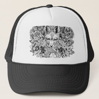 Black and white fox in the forest trucker hat