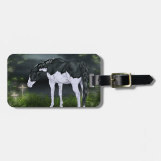 Black and White Frame Overo Paint Horse Luggage Tag
