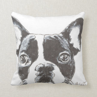 Black and White French Bulldog, Love one Another Cushion