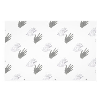 Black and White Friendship Hands Stationery