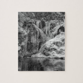 Black and White Frozen Bled Gorge Waterfall Jigsaw Puzzle