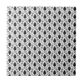 Black and White Fuchsia Floral Damask Ceramic Tile